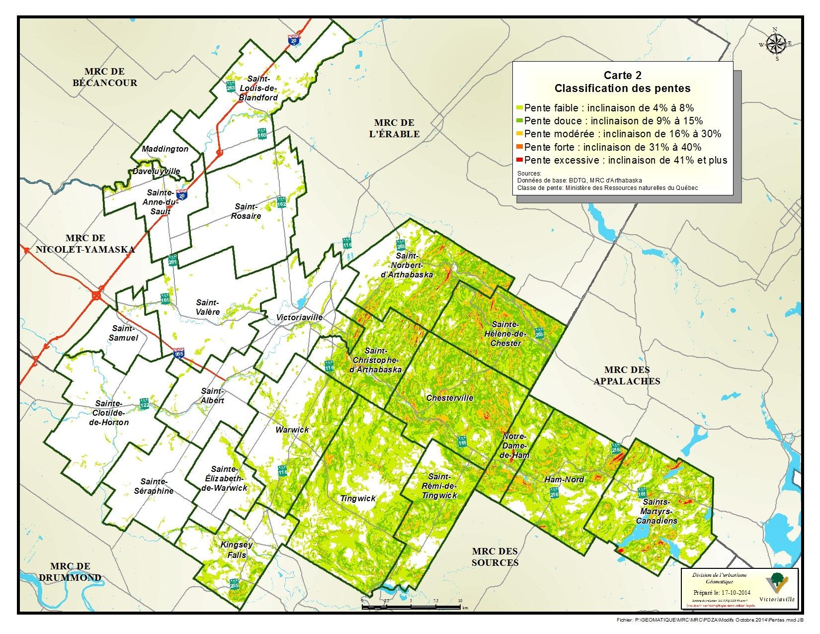 Carte 2 de 23 - Classification des pentes