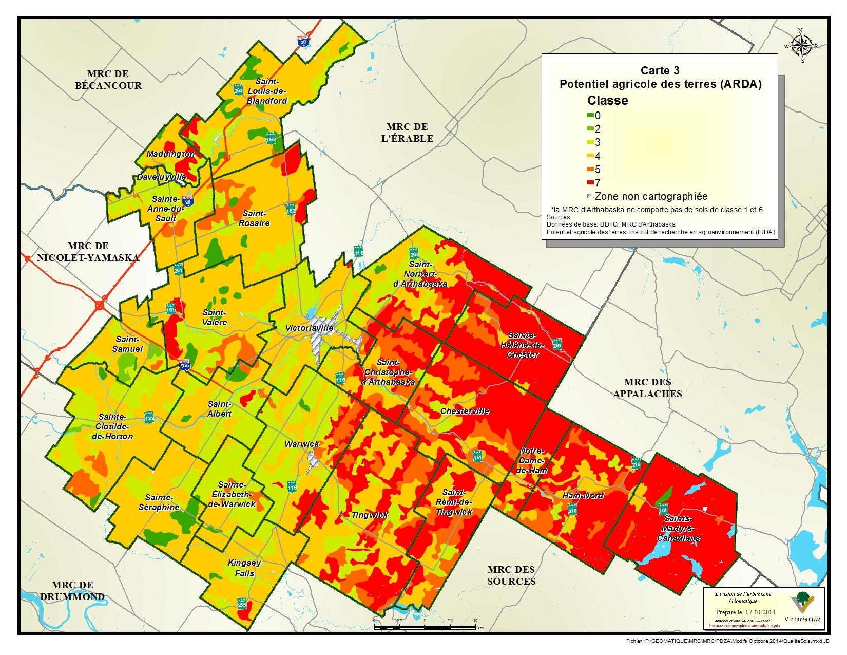 Carte 3 de 23 - Potentiel agricole des terres (ARDA)
