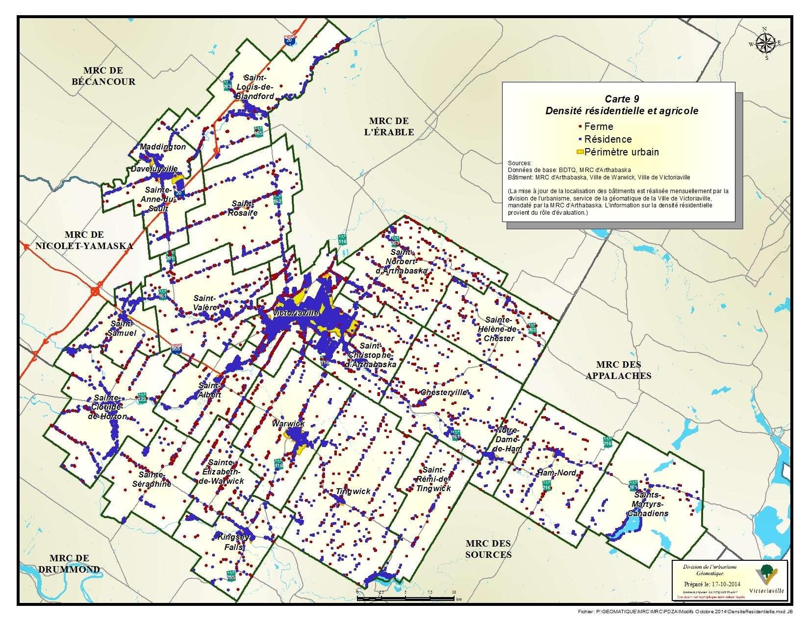 Carte 9 de 23 - Densité résidentielle et agricole