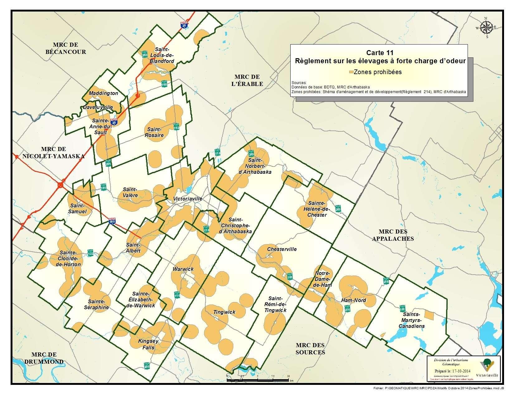 Carte 11 de 23 - Règlement sur les élevages à forte charge d'odeur