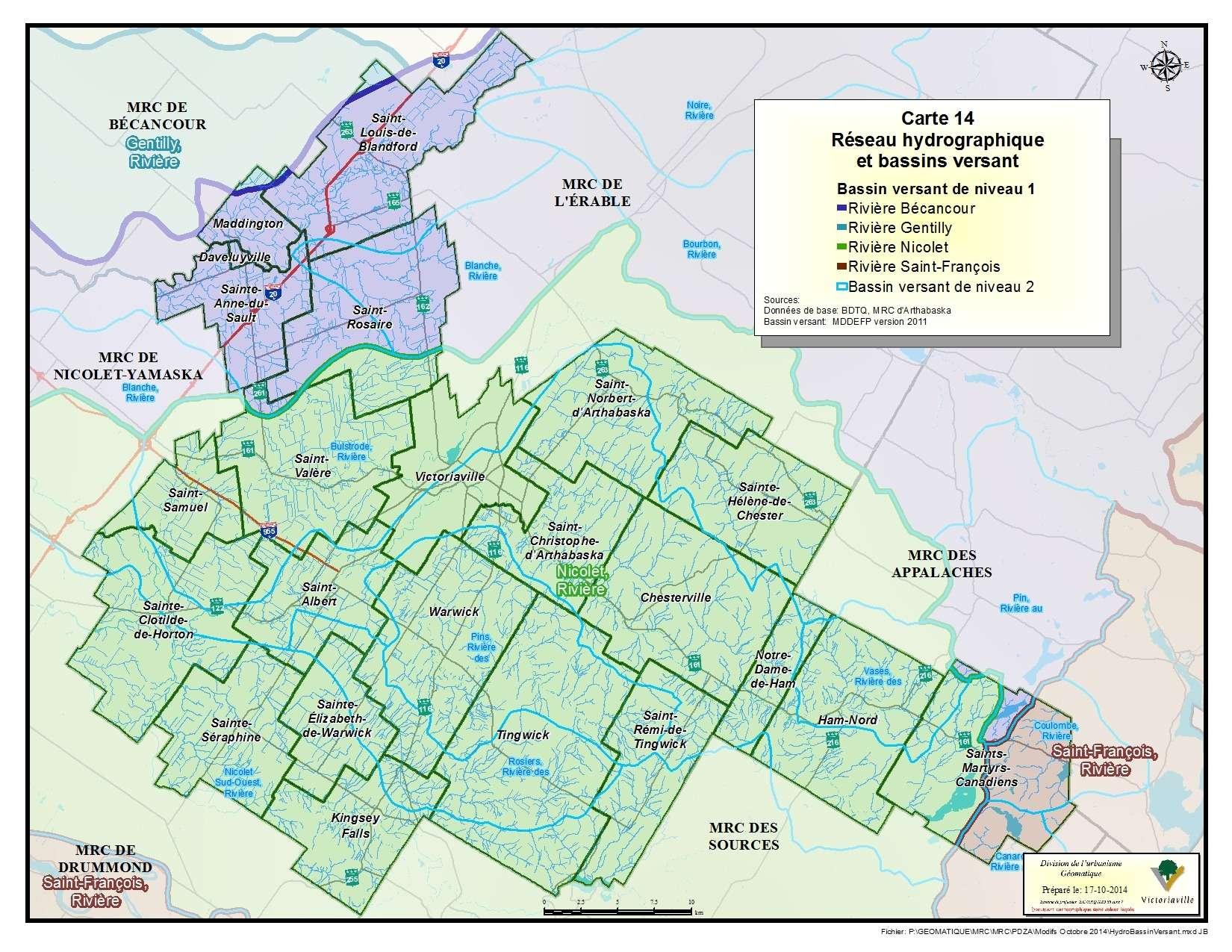 Carte 14 de 23 - Réseau hydrographique et bassins versant