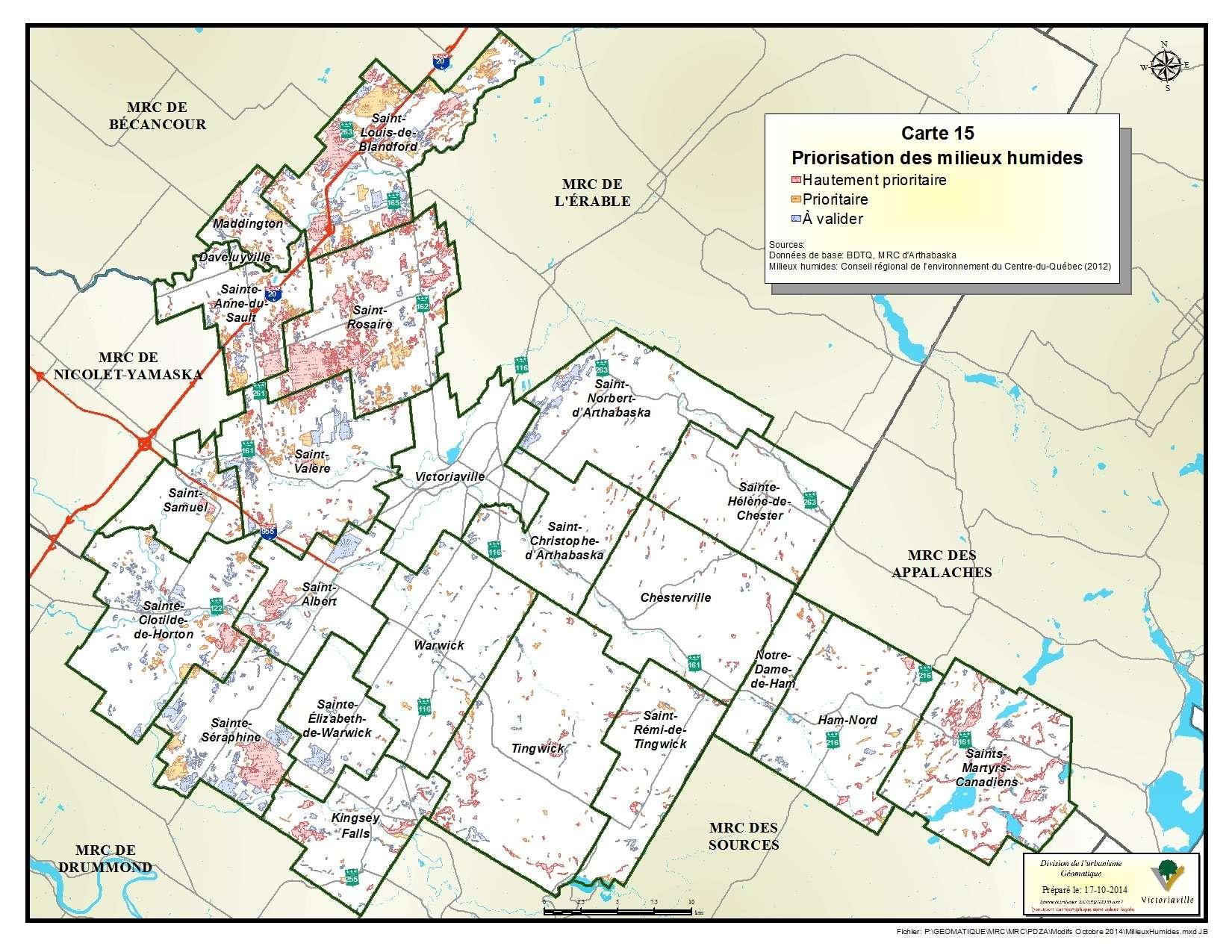 Carte 15 de 23 - Priorisation des milieux humides
