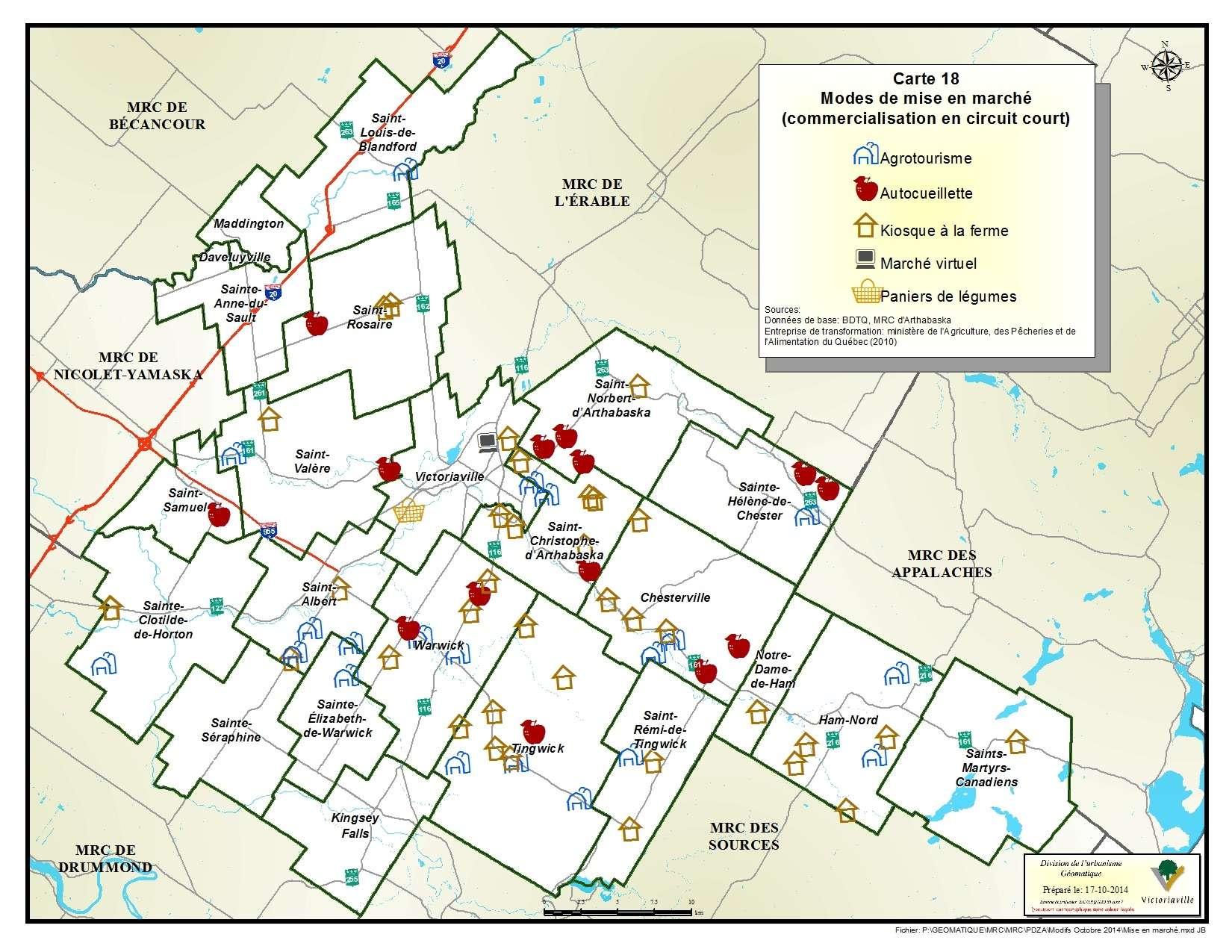 Carte 18 de 23 - Modes de mise en marché (commercialisation en circuit court)