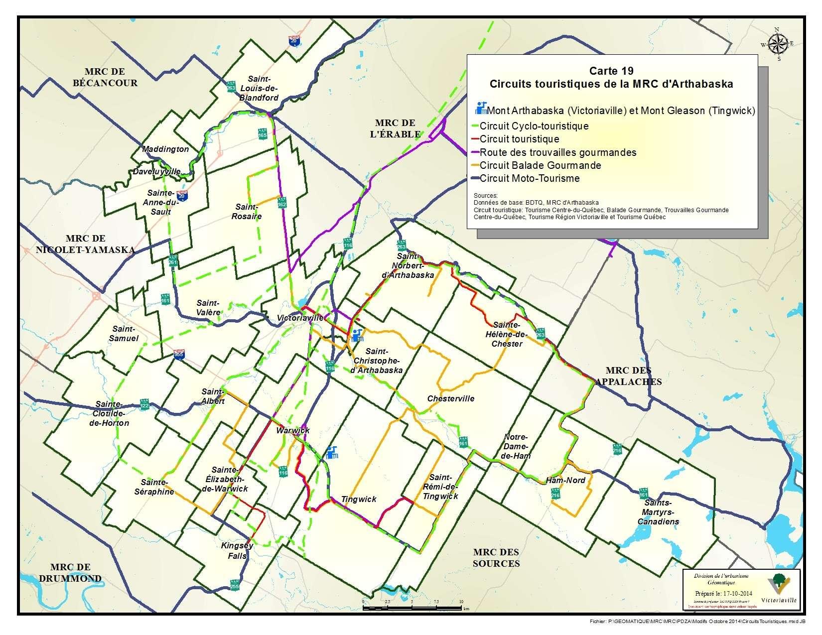 Carte 19 de 23 - Circuits touristiques de la MRC d'Arthabaska