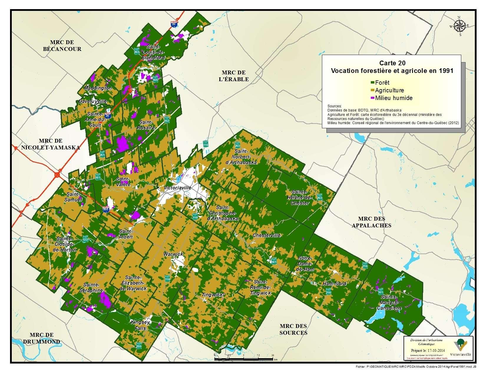 Carte 20 de 23 - Vocation forestière et agricole en 1991